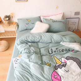 applique bedding set Australia - Unicorn Bedding White Green Washed Cotton Shabby Duvet Cover Bedding Set Relaxed Soft Natural Wrinkled Twin Queen King Bed sheet