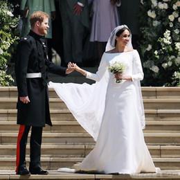 Discount princes dresses - 2019 Prince Harry&Meghan Markle Long Sleeves Wedding Dresses 2018 Simple Satin Bateau Neck Long Bridal Wedding Gowns Cou