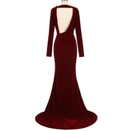 b327103d3c0 2019 бордовый бархат вечерние платья с V-образным вырезом с длинными  рукавами платья выпускного вечера обычай рюши развертки поезд спинки женские  вечерние