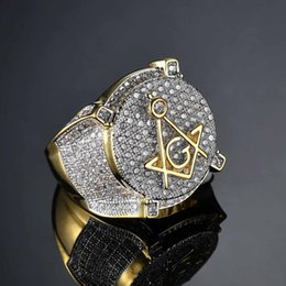 $enCountryForm.capitalKeyWord Australia - 3A CZ Zircon Ice Out Bling Big Wide Masonic Ring Gold Filled Copper Material Freemasonry Rings Men Hip Hop Rapper Jewelry