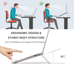 folding book holder Canada - New Portable Desktop Holder Aluminum Folding Laptop Stand Anti-slip Rubber Pad Desk Holder Tablet PC Bracket for MacBook ipad notebook books