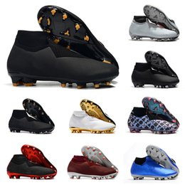 Footballs Shoes Australia - Hot Sale Phantom VSN Vision Elite DF FG & AG Shadow Black Lux Mens High Ankle Soccer Cleats Football Shoes EA Sports Soccer Shoes Size 39-45