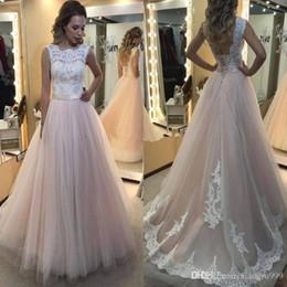 $enCountryForm.capitalKeyWord Australia - Elegant Blush Wedding Dresses Lace Top White Applique Backless Wedding Gowns Sweep Train Long Simple Bridal Dress