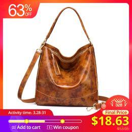 $enCountryForm.capitalKeyWord Australia - REALER brand women leather handbags female genuine leather shoulder crossbody bag large hobos tote bag with tassel Black Brown #94157