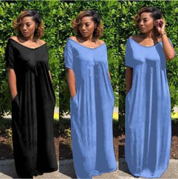 Discount wholesale plus size clothing dresses - Brand designer maxi dress women Short sleeve long skirts loose dresses Pocket letter women Spring Summer clothing plus s