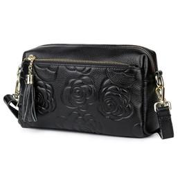 Red Rose Black Bag UK - Belle2019 Woman Rose Genuine Leather Ma'am Single Shoulder Package Tassels Oblique Satchel Recruit