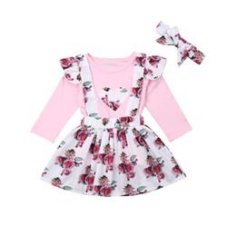 $enCountryForm.capitalKeyWord Australia - Kids Girls Cotton Clothes Set Casual Baby Girls Long Sleeve Floral Printed Tops T-shirt+Floral Printed Suspender Skirt 3Pcs Set