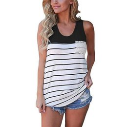 $enCountryForm.capitalKeyWord NZ - Rogi Casual Tee Shirt Femme Nice Summer Sleeveless Women Tops Fashion Patchwork Striped Lace Pocket T-shirt Camisas Mujer S-2xl