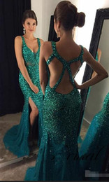 dresses scalloped neckline NZ - Long Evening Dresses 2019 V-Neckline Sleeveless Criss-Cross Sweep Train Chiffon and Beading Crystal Split Side Party Prom Dresses 2019