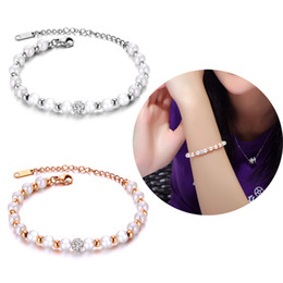 artificial chains wholesalers Australia - Women Charm Bracelets Artificial Pearl Stainless Steel Link Chain Cuff Bangle Fashion Jewelry Bride Wedding Party Wristband Circlet Bracelet