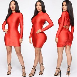 $enCountryForm.capitalKeyWord Australia - 2019 new European and American style fashion women Slim round neck long sleeve bag hip dress Solid color sexy skirt