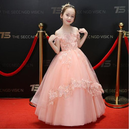 strapless satin short wedding dresses Australia - 2019 Summer Strapless Appliques Lace Girl Wedding Dress Pink Tulle Flower Girl Dress For Party Princess Birthday Princess First Communion G