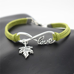 Tree Love Bracelets Australia - Braided Green Leather Suede Bracelet & Bangles for Men Women Vintage Infinity Love Plant Tree Leaves Maple Leaf Wrap Size Adjustable Jewelry