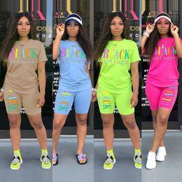 $enCountryForm.capitalKeyWord Australia - Newest!! Colorful Letters Printed Women Tracksuits Summer Short Sleeves T Shirt and Shorts Leisure Sport Club Street 2PCS Sets Big Size 3XL