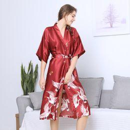 3792eba29e Winter Women Printed Robe Cloth Babydoll Nightdress Sleepwear Kimono  printing silk gown Long Sleeping Robes Home Clothing