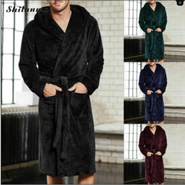 Wholesale men s long robe for sale - Group buy 2018 New Winter Men Luxury Bathrobe Mens Warm Silk Flannel Long Kimono Bath Robe Home Clothes Male Night Dressing Gown Bathrobes