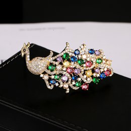 wholesale Mirco Pave CZ Zircon Pins and Brooches for Women Peacock  Rhinestone Peacock Brooch Suit Collar Dress Korean Fashion Jewelry 10a5288c8e31