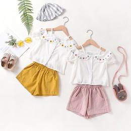 Girl Wears Shirts Australia - Girls suit summer casual children's sling strapless short-sleeved shirt embroidered doll collar loose children's wear