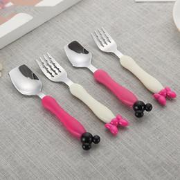 Spoon Forks Kids Australia - Baby Utensil Children Tableware Set Infant Feeding Spoon + Fork Set Mouse Cartoon Shape Toddler Dinnerware Kids Cutlery