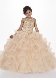 d28240b7b1 Champagne Girls Pageant Dresses Floor Length Tulle Ball Gown with Sheer  Halter Neckline Beaded Lace-up Ruffled Skirt Puffy Flower Girl Dress