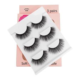 $enCountryForm.capitalKeyWord Australia - 3Pairs Set 3D Mink Hair False Eyelashes Thick Long Cross Lashes Natural Eye Makeup Extension Tools Handmade Black
