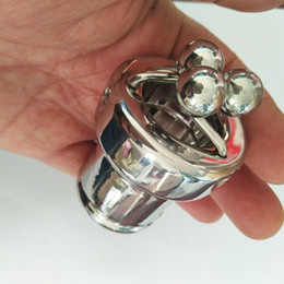 Male Torture Toys Australia - Ball Torture Stainless Steel Chastity Metal Sex Cock Penis Rings Lock For Men Male Chastity Penis Cage Sex Game Toys Male Ball Crusher