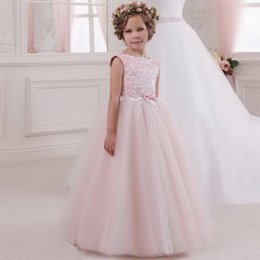 comunion girl dresses NZ - Cute Pink Flower Girl Dresses Appliqued With Bow Tulle Sleeveless Girl Pageant Gowns First Comunion Party Dresses