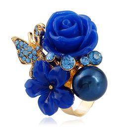 Resin Rose floweR Ring online shopping - New Rose Shiny Rhinestone Rings Retro Bohemia Alloy Colors Resin Rose Flower Rings Women Jewelry