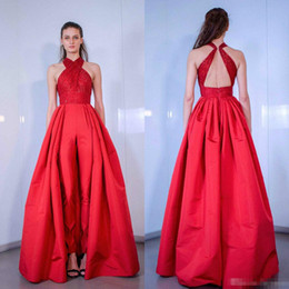 V neck cocktail jumpsuit online shopping - 2019 Red Prom Dresses Sleeveless Sequined Backless Women Jumpsuits Evening Gowns with Overskirt Cocktail Party Dresses Custom Made