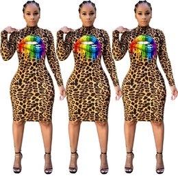 sexy clothes sold wholesale Australia - Women Sexy Lip Dresses Night Club Skirts Long Sleeve Leopard Crew Neck Fashion Print Designer Clothing Fall Winter HOT Sell DHL 1753