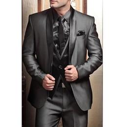 Modern Suits For Men Australia - Wedding Tuxedos Suits for Men Modern Best man Suit Grey formal Suit Groom Tuxedo Mens Suit Jacket+Pants+Tie+Vest