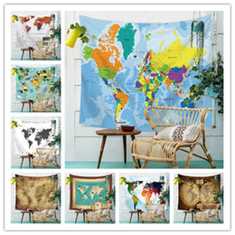 cloth maps 2021 - World Map Tapestry Background Yoga Mat Home Cloth Beach Towel Living Room Decoration Wall decoration 150cm*130cm cheap c