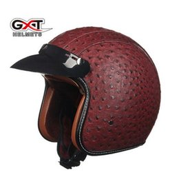 Leather Half Helmets Australia - GXT motorcycle helmet four seasons personality leather helmet electric safety helmet