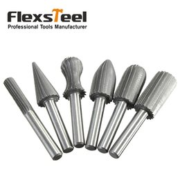 "$enCountryForm.capitalKeyWord Australia - rill titanium 6pcs Carbide Cutter Rasp Rotary Burr Drill Bit Set CNC Woodworking Carving Engraving Bit Shank 6mm 1 4"" For Dremel Rotary ..."