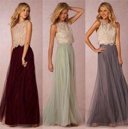 $enCountryForm.capitalKeyWord Australia - 2019 New Trends Two Pieces Bridesmaid Dresses Lace Bodice Tulle Skirt Burgundy Grey Mint Sheer Crew Neck Full Length Elegant Prom Dresses