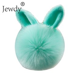 $enCountryForm.capitalKeyWord Australia - Bunny Key Chains Pom Pom KeyChain Artificial Rabbit Fur Ball Key Rings Porte Clef Pompom Car pendant Pompon Bag Charms Jewelry