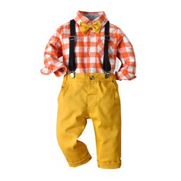Wholesale Autumn Boys Clothes Toddler Baby Boy Bowtie Gentleman Suit Plaid Shirt Pants Winter Children s Clothing Boys Set
