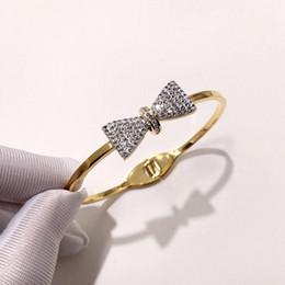 christmas tie designs 2019 - Fashion Design Rhinestone Bracelet High Quality Luxury Bow Tie Bangles Women Rose Silver Gold Hip-hop Rigid Bracelets Pa
