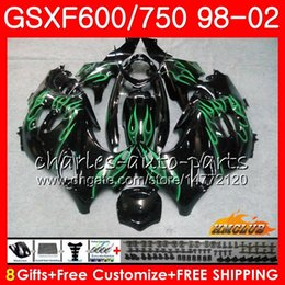 gsxf fairings UK - Body For SUZUKI KATANA GSXF 750 600 GSXF600 98 99 00 01 02 2HC.64 GSX750F GSX600F GSXF750 Green flames 1998 1999 2000 2001 2002 Fairing kit