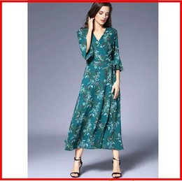 trumpet skirt maxi dress Australia - 2019 half Trumpet sleeves Beach Vintage Maxi Dresses Boho Casual V Neck Women's long skirt print dress Draped Plus Size Dress
