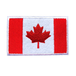 Chinese  8CM Embroidered Canada Flag Patches Maple Leaf Sew Iron On Badges For Bag Jeans Hat T Shirt DIY Appliques Craft Decoration manufacturers
