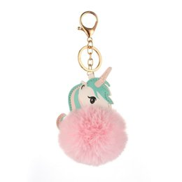 $enCountryForm.capitalKeyWord UK - Women Cartoon Horse Faux Hair Pom Pom Key Fur Ball Chain Chain, Decoration, Gift Keyring Car Bag Charm