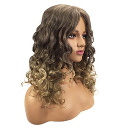 Chinese  Factory price 1pc Women Fashion Lady Gold Long Wavy Curly Blonde Hairstyle Handmade Wig 52CM Wigs Stand Stocked Feb15 manufacturers