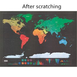 Famous Paintings World Australia - 2 pcs Scratch map Colorful decorative map poster World map painting Plastic surface waterproof
