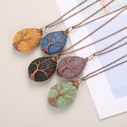 Volcanic laVa pendant online shopping - New Natural Lava Stone Diffuser Copper Wire Alloy Wrapped Water Drop Volcanic Rock Tree of Life Aromatherapy Pendant Necklaces Jewelry