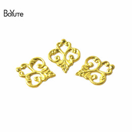 wholesale brass filigree 2021 - BoYuTe (100 Pieces Lot) Metal Brass Stamping 13*15MM Filigree Flower Findings DIY Jewelry Accessories Parts Wholesale