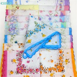 printed floral cotton handkerchiefs NZ - 10 Pcs Vintage Cotton Women Hankies Embroidered Butterfly Lace Flower Hanky Floral Assorted Cloth Ladies Handkerchief Fabrics C19041301