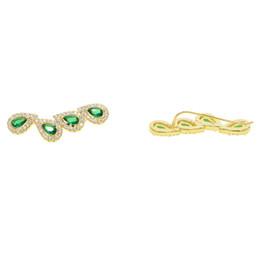 Chinese  climber earring green tear drop cubic zirconia long sweep ear wire fashion Romantic european lady trendy fashion cz earring manufacturers