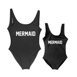 mermaid bathing suit women UK - Mother and Daughter Children Mermaid Letter Print One Piece Swimsuit Mommy&Babe Swimwear Mom Kid Bathing Suits Bikini Women