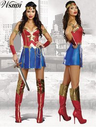 super woman cosplay Australia - 5 Pcs Halloween Wonder Woman Fantasy Hero Costume Dawn Of Justice Surperhero Fancy Dress Girl Super Hero Cosplay CostumeMX190921MX190921